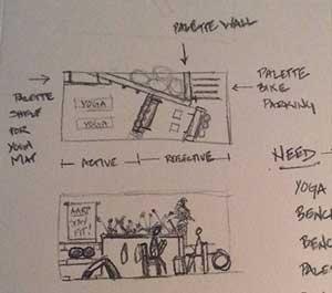 A pencil sketch of parklet plans.