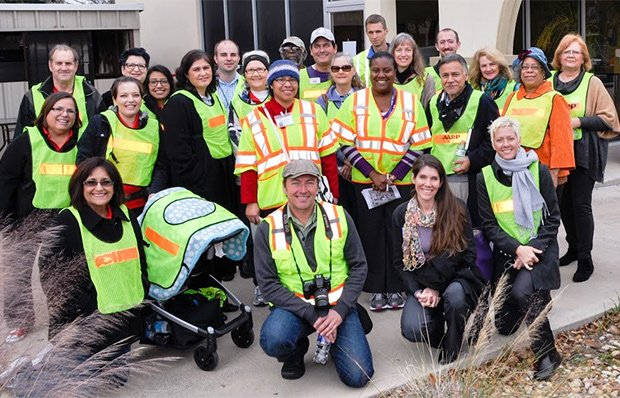 A group photo of people conducting a walk audit in Fort Worth, Texas