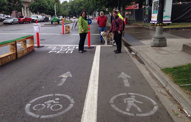 Pedestrian and bike lane in Portland, Oregon