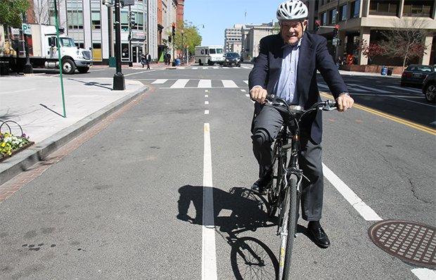 Retiree Ron Swanda riding his bicycle in Washington D.C.