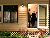 The SustainaFest tiny house is used as a traveling showcase home.