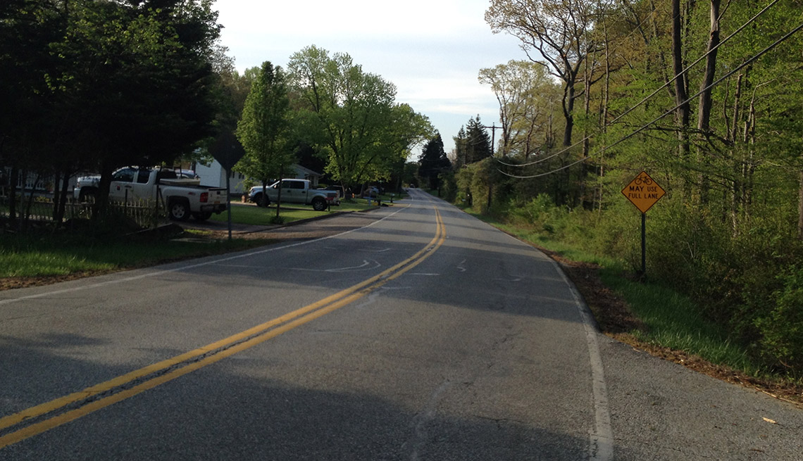 On This Suburban Road Bikes And Cars Must Share The Narrow Road, Livable Communities, Biking Infrastructure