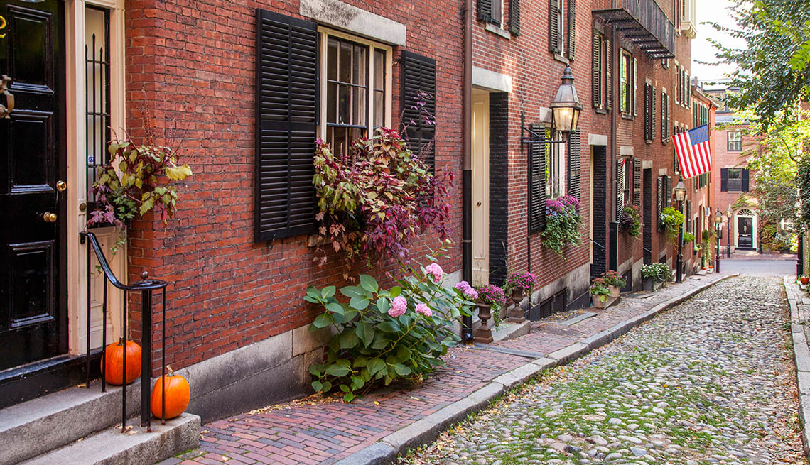 Boston, Beacon Hill Neighborhood, Rowhomes, Cobbled Streets, Front Doorstep, AARP Livable Communities, Improving How And Where We Live