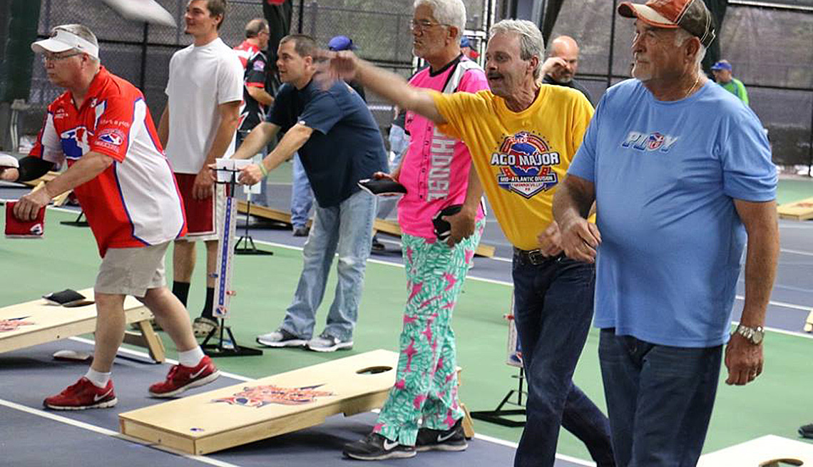 Elderly And Mature Men Play Cornhole, Game, Age Friendly Games, Livable Communities