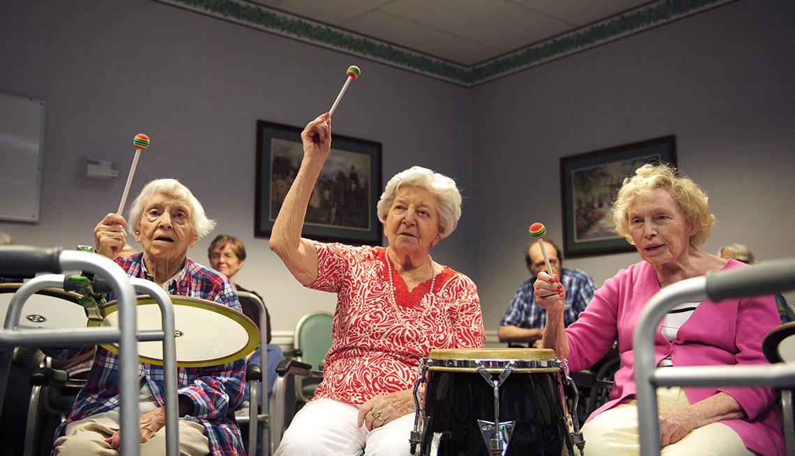 Drumming, Drum Circle, Elderly Women Play The Drums, Age Friendly Games, Livable Communities
