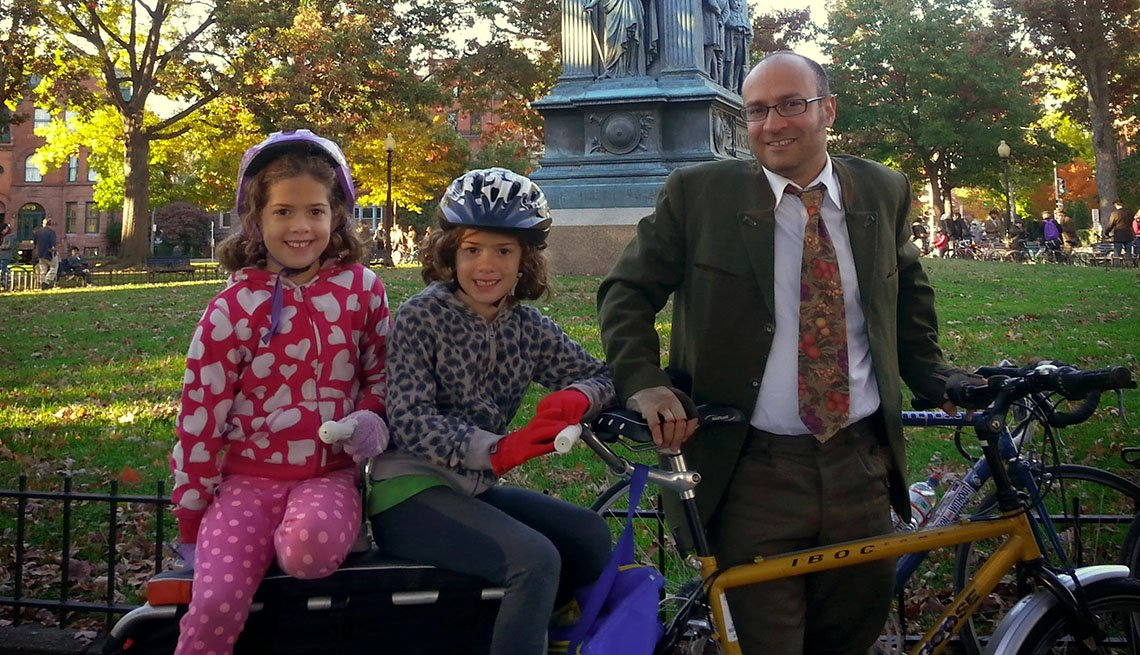Father Poses In Park With His Two Young Daughter, Commuting By Bike, Car Light Living, Going Car Free, Livable Communities, Biking Infrastructure