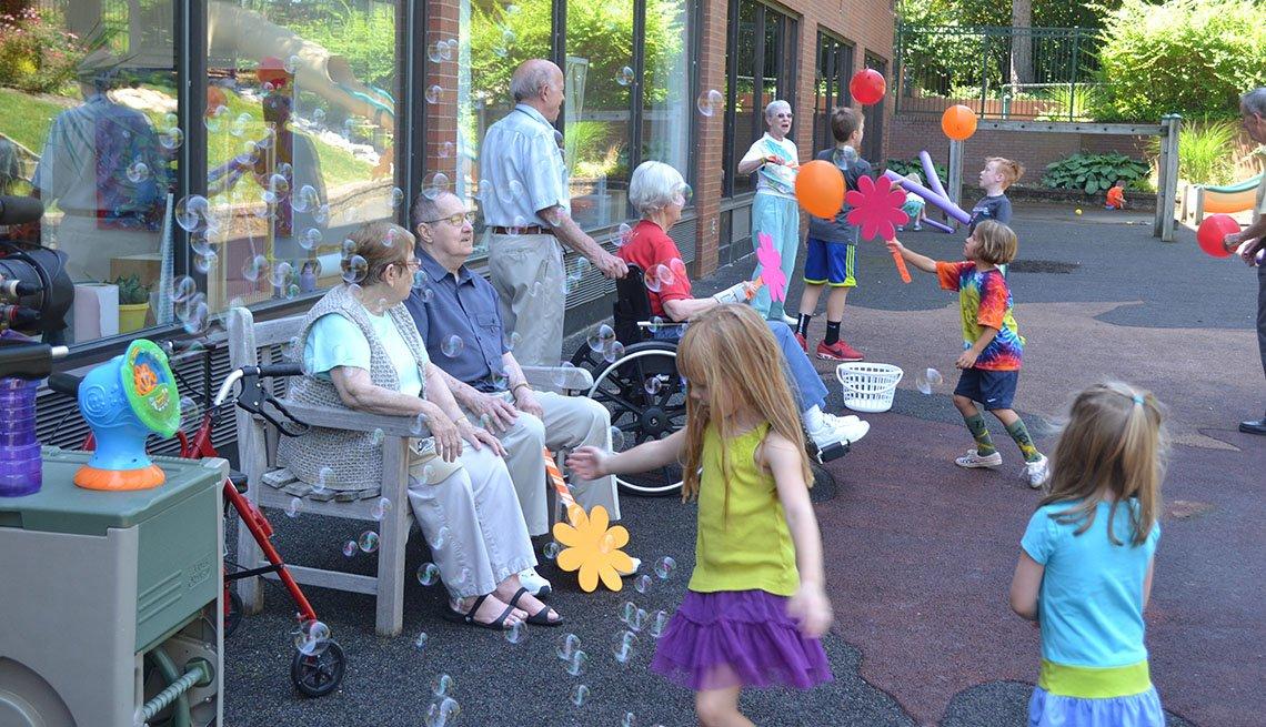 Maple Knoll Village, Senior Citizens, Children, Playing, Grandfriends, Retirement Community, Livable Communities, Build Bonds Across Generations