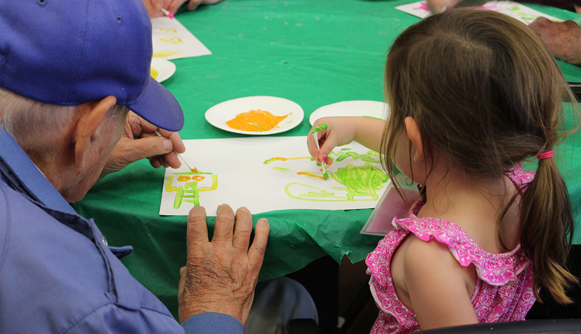 One Generation, Drawing, Elderly Man Draws With Young Girl, Painting, Livable Communities, Build Bonds Across Generations