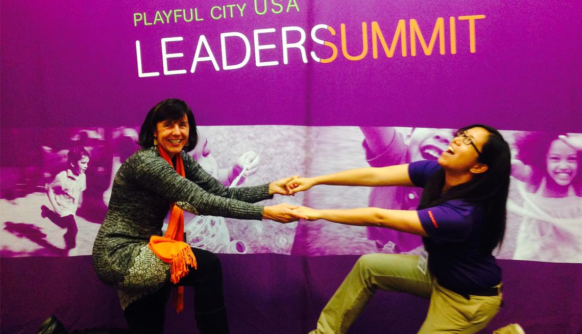Playful City USA Leadership Summit, Two Ladies, Tug Of War, Laughing, Smiling, Pat Rumbaugh Interview