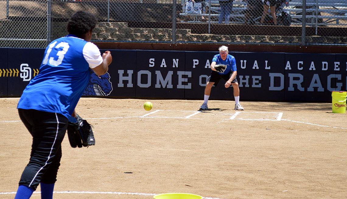 San Pasqual Neighbors Academy, Throwing A Baseball, Young Woman And Senior Man, Baseball Field, Livable Communities, Build Bonds Across Generations