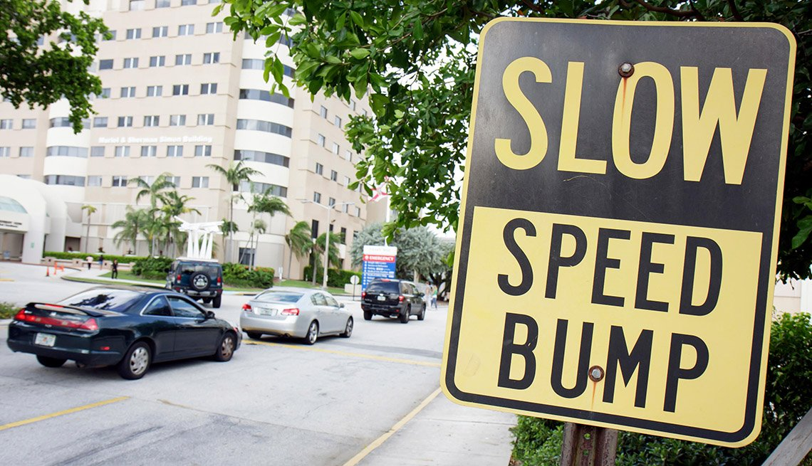 Speedbump, Slow Road Sign, Traffic, Street, City, Miami, Florida, AARP Livable Communities, Vision Zero Network, Interview With Leah Shahum