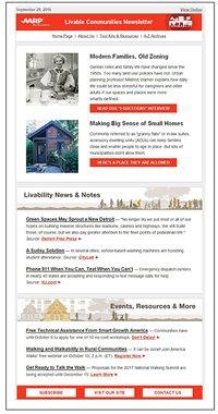 Sample issue of the AARP Livable Communities eNewsletter