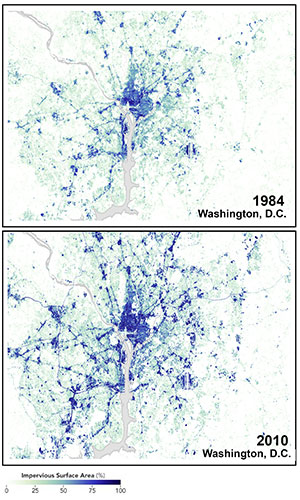Satellite image of Washington DC paved surfaces in 1984 and 2010