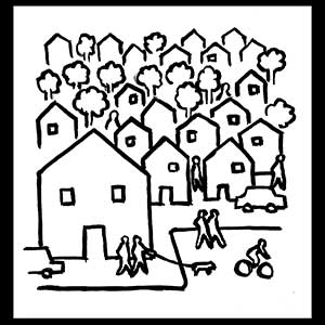 Black and white line drawing of houses in a neighborhood