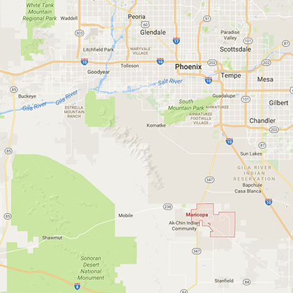 A map shows the relation of Arizona's Maricopa city to Phoenix, located about 40 miles to the north.