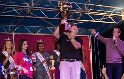 Christian Price, mayor of Maricopa, Arizona, celebrates his city's third Battle of the Burbs championship win.