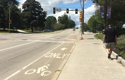 A dedicated bicycle lane in Durham, New Hampshire