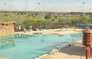 The outdoor swimming pool at the Copper Sky recreation center in Maricopa, Arizona.