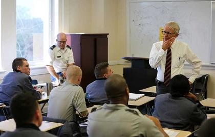 Former Charleston, South Carolina, Mayor Joseph P. Riley teaching at The Citadel