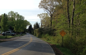 Road sign on a two-lane road that says Bicyclists May Use Full Lane