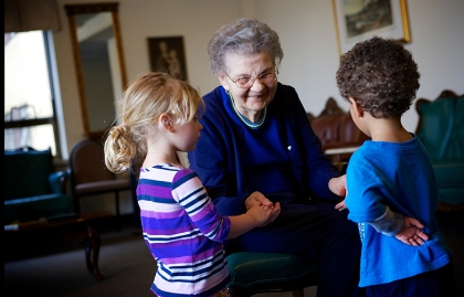 An older woman at the Providence Mount St. Vincent Assisted Living facility in Seattle, Washington