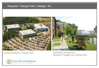 Smart Growth America proposal for redesigning Research Triangle Park in Raleigh, North Carolina