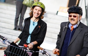 Leah Shahum, founder and director of the Vision Zero Network, and San Francisco Mayor Edwin Lee