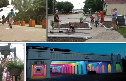 Examples of community improvements include bicycle lanes, sidewalk bumpouts, streetlamps, plantings and artistic lighting