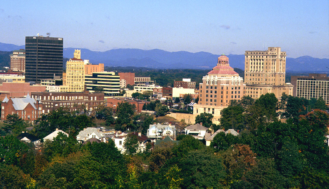 Aerial View Of Downtown Asheville, North Carolina, Trees, Building, Blue Ridge Mountains In Background, Livable Communities, 5 Questions With Gary Jackson
