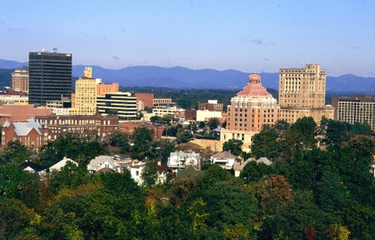A view of downtown Asheville, North Carolina and the Blue Ridge Mountains