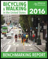 Cover of the Bicycling and Walking in the United States 2016 Benchmarking Report
