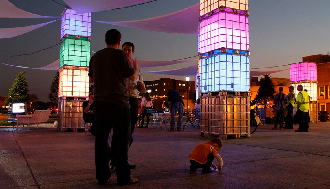 Lighted Columns, Plaza, Nighttime, People, Pop Up Plaza, Livable Communities