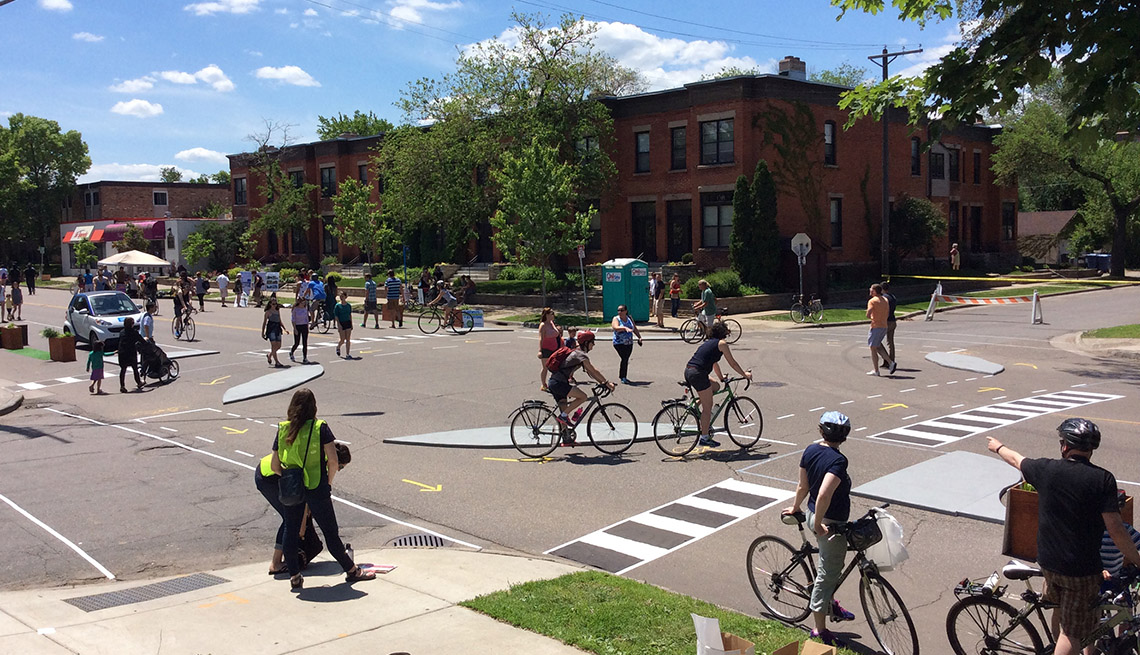 Protected Intersection, Bikers, Cars, Pedestrians, Pop Up Intersections, Livable Communities