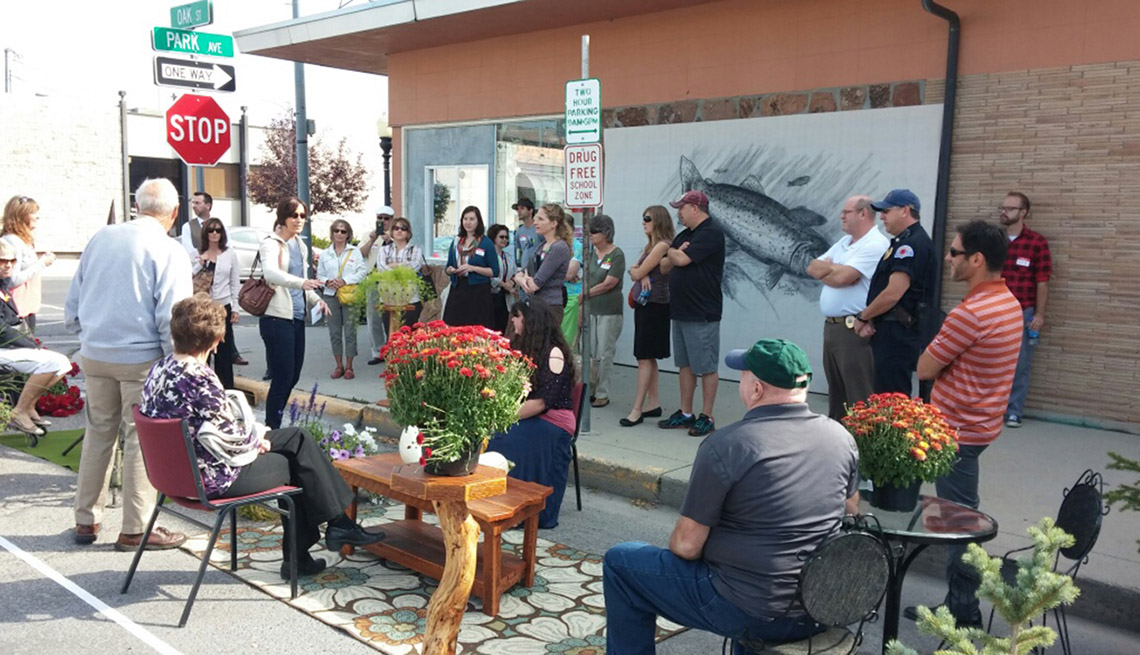 Residents Hang Out In Pop Up Parklet On Sidewalk, Livable Communities