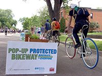 A demonstration protected bikeway in Minneapolis, Minnesota