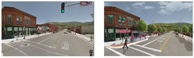 A before (left image) and proposed after (right image) for a streetscape in Anaconda, Montana