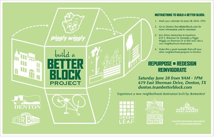 A flyer promoting a pop-up demonstration project in Denton, Texas