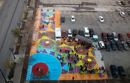 Pop-up plaza in a Milwaukee, Wisconsin, parking lot.