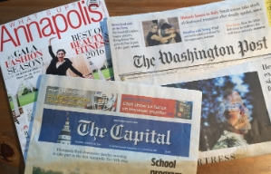 A photo showing the covers of Annapolis magazine, The Capital newspaper and The Washington Post