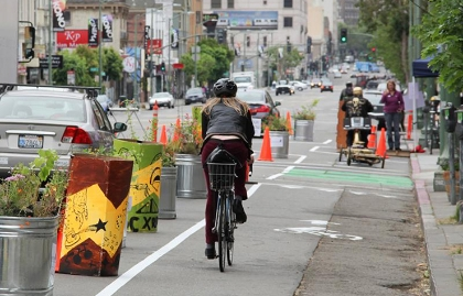 A pop-up protected bike lane in Oakland, California