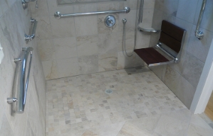 A curbless shower.