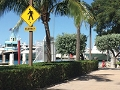 A crosswalk sign that says Elderly on it, as seen at a dock in Miami Beach
