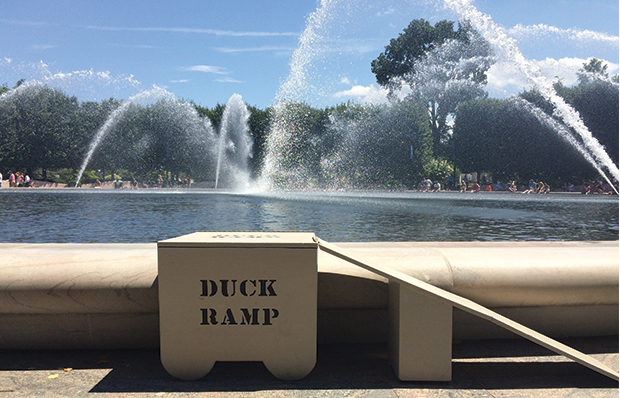 A duck ramp at a fountain in Washington, DC