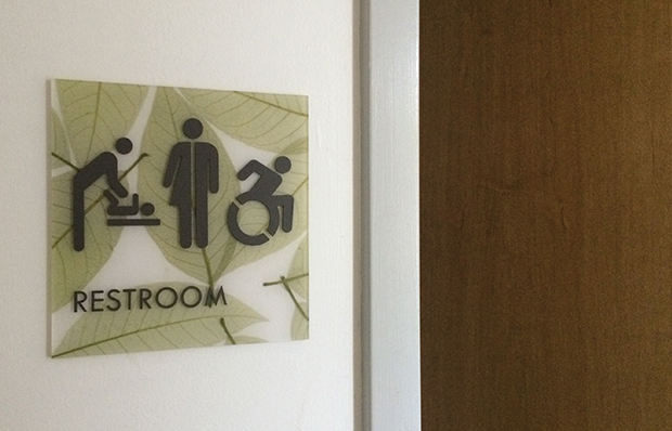 Symbols on a door sign indicate that a rest room is for women, men, people using wheelchairs or babies needing a diaper change