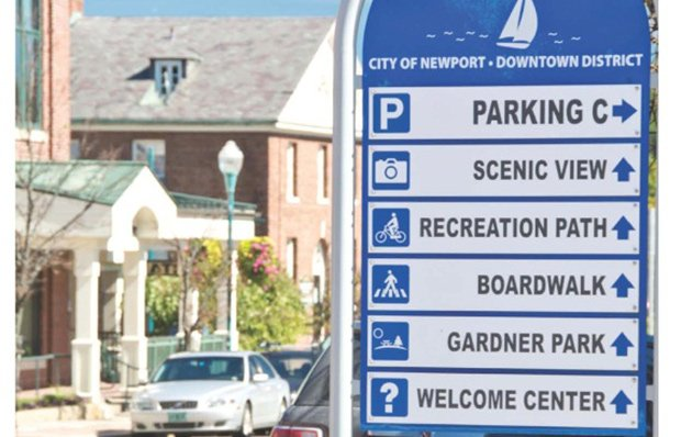 Directional signage in downtown Newport, Vermont