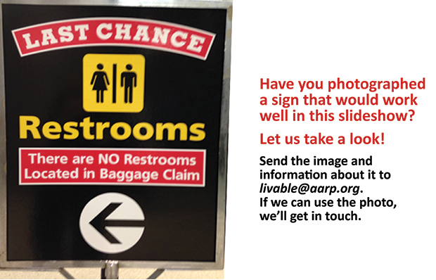 A sign at BWI Airport reads Last Chance Restrooms