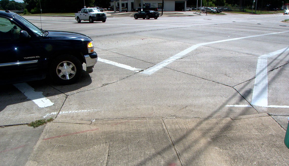 Diagonal Curb Ramps, Intersection, Traffic, Cars, Challenges For Visually And Hearing Impaired, Livable Communities