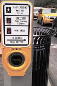 An accessible pedestrian signal in New York City.