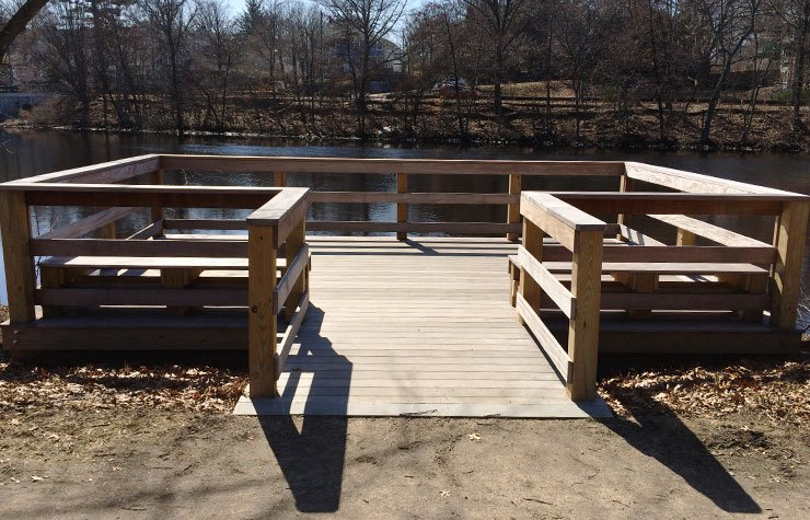 Fishing pier and overlook area near the Braille Trail in Watertown Riverside Park