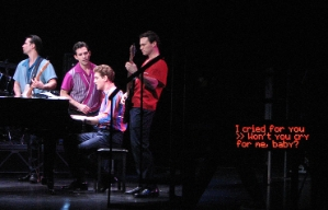 An example of onstage captions during a musical theater performance.